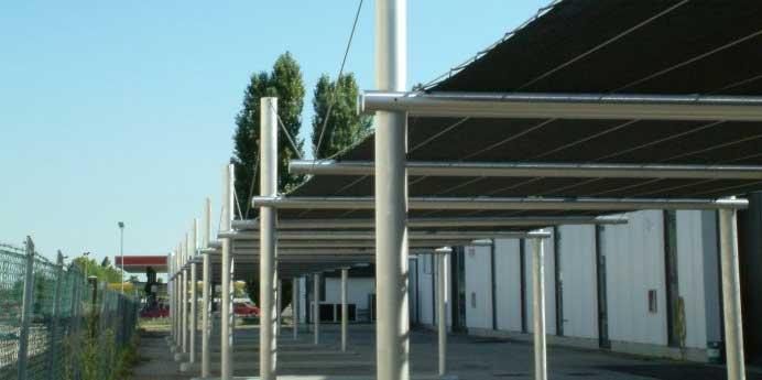 Rete ombreggiante e antigrandine per copertura parcheggio auto